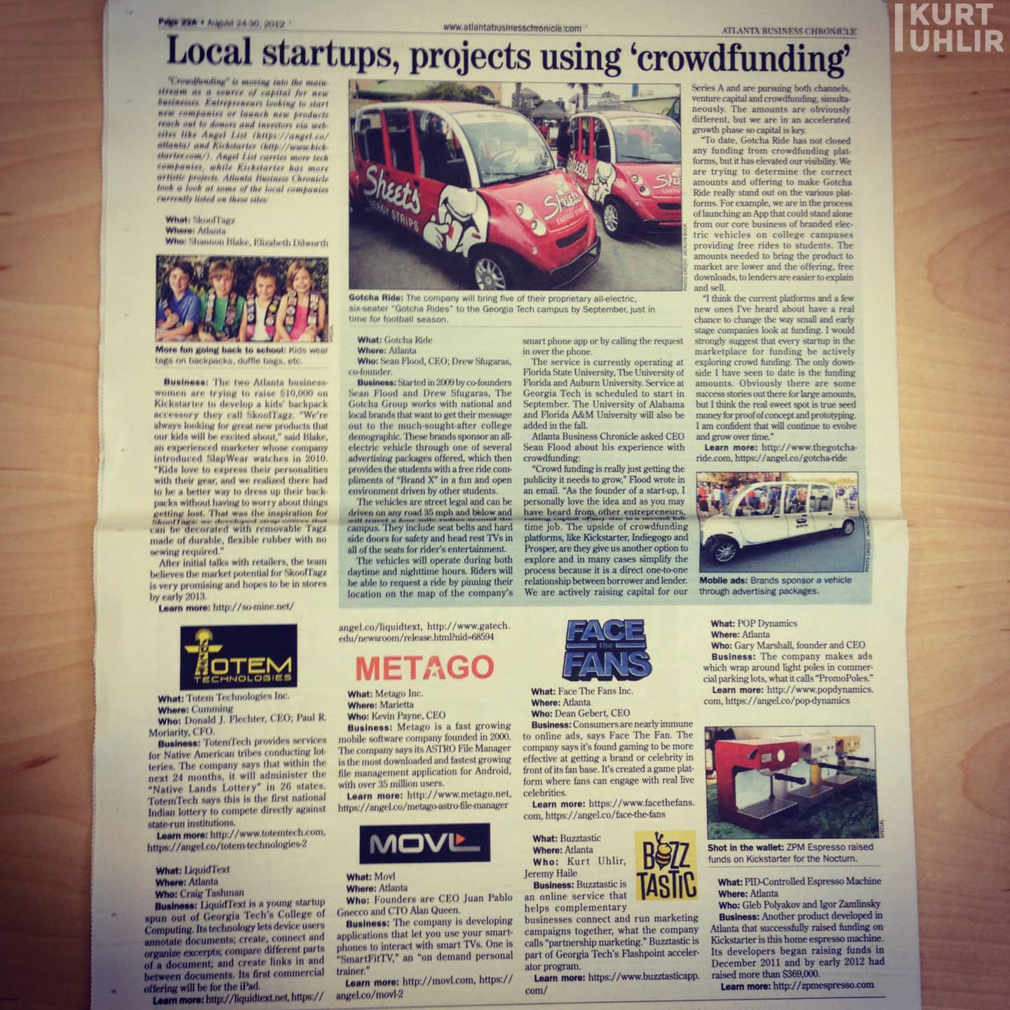 Mention in Atlanta Business Chronicle about funding about funding for Buzztastic (Sideqik)