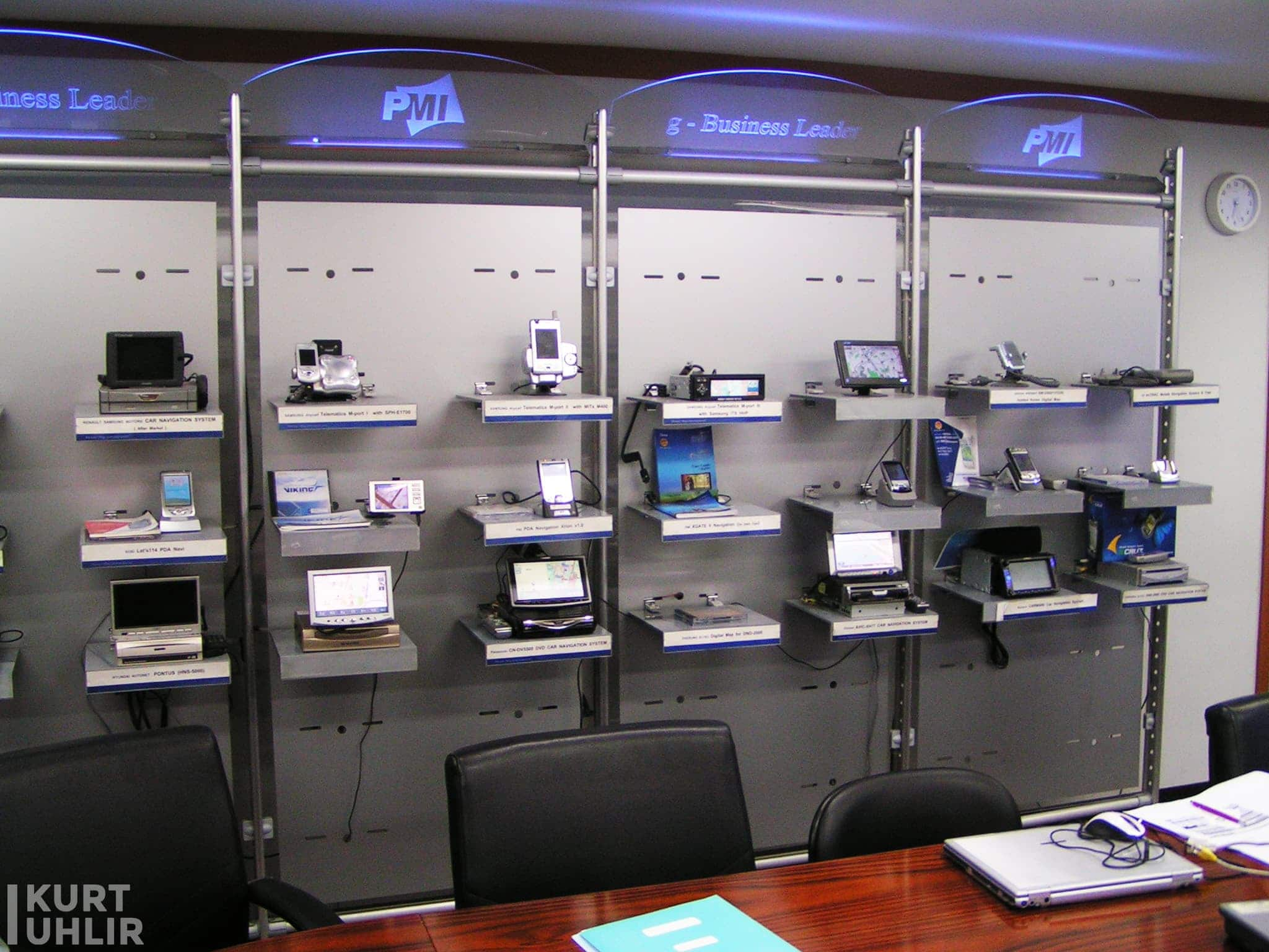 In July 2005, Navteq acquired Picture Map International (PMI), a South Korean digital map company, for about $30 million. It's great to see a wall of all of the devices using PMI maps in South Korea.